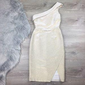 NWT Topshop tinsel one shoulder dress gold midi 4